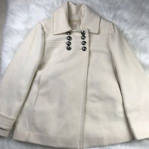 Michael Kors White Wool Pea Coat Double Breasted